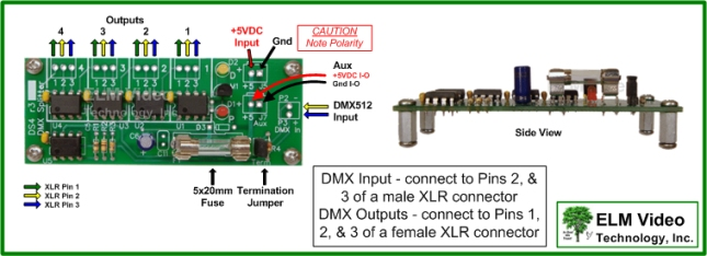 DS4 PCB Connection Diagram Abbrev 645x dmx splitter booster 1x4 pcb 1 in 4 out for dmx512 ebay