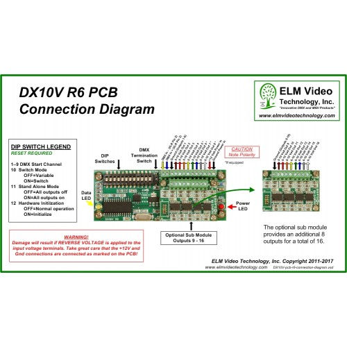 DX10V R6 PCB Connection Diagram DMX 10 Volt Analog Converter 500x500 dmx 0 to 10 volt analog converter pcb elm video technology 0 10 volt dimmer wiring diagram at reclaimingppi.co